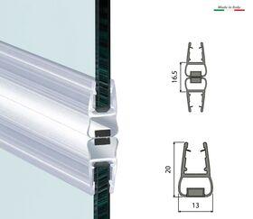 Coppia guarnizione con magnete per vetro box doccia chiusura frontale MT. 2 mod. 411a