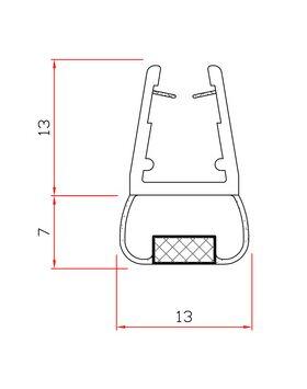 Guarnizione con magnete per vetro box doccia chiusura frontale MT. 2 mod. 411a